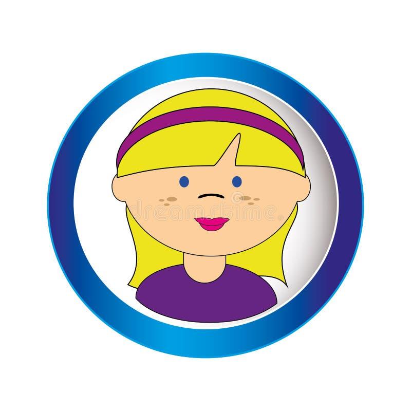 Blond meisjesgezicht met kort haar en lint in cirkelkader vector illustratie