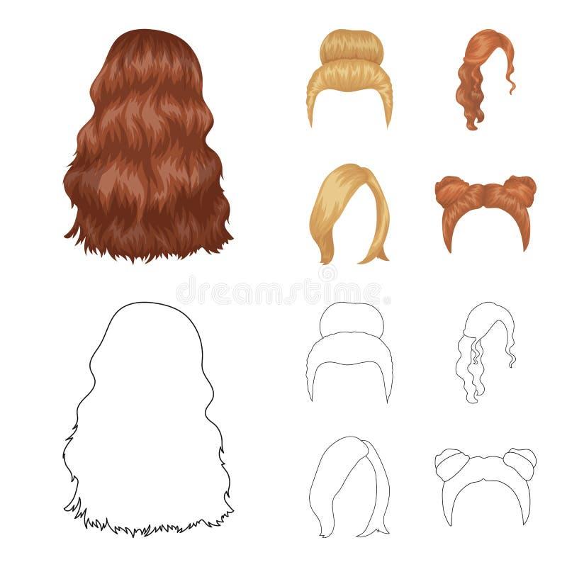 Blond mit einem Bündel, roten gewellten und einen anderen Arten Haar Gesetzte Sammlungsikonen des Rückenhaars in der Karikatur, E vektor abbildung