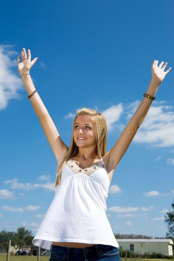 blond nastoletniego chwalą zdjęcie royalty free