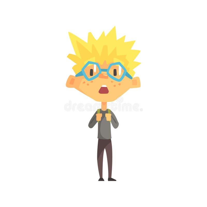 Blond pojke med spetsigt förvånade hår och exponeringsglas, grundskola för barn mellan 5 och 11 årunge, elementär gruppmedlem, is vektor illustrationer