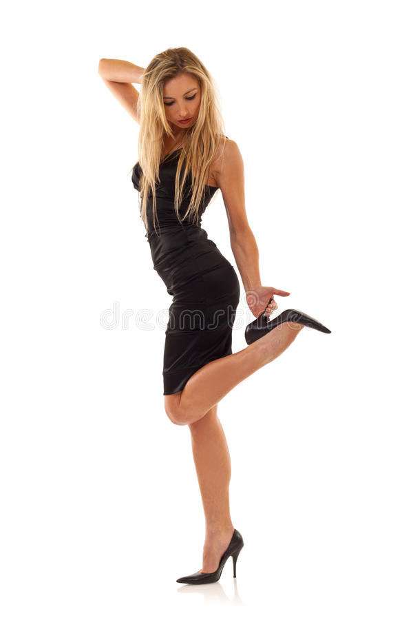 Download Blond Posing In Little Black Dress Stock Photo - Image of human, fashion: 15158836