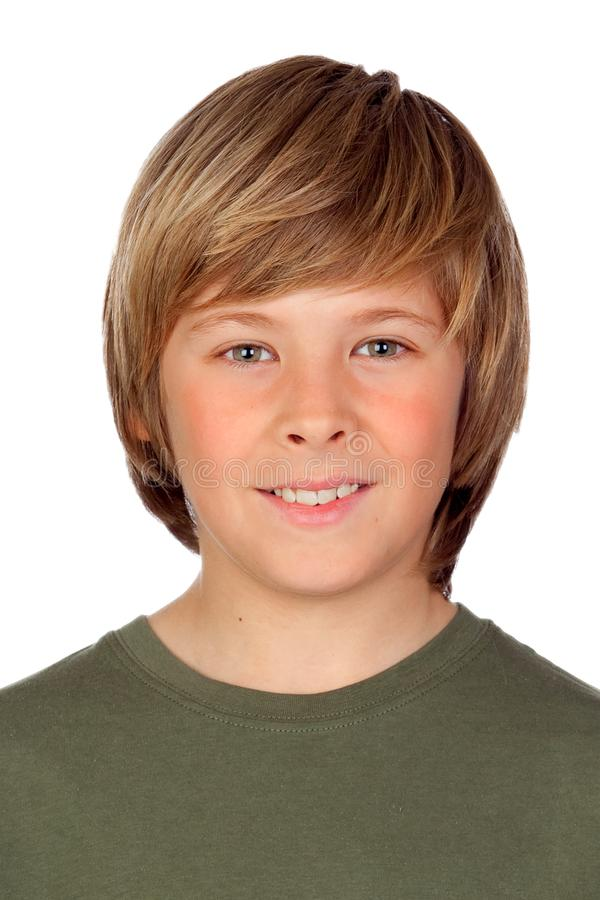 Portrait of a blond preteen boy royalty free stock images