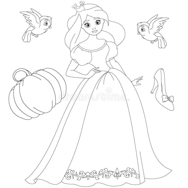 Blond prinsessa Coloring Book Page för saga royaltyfri illustrationer