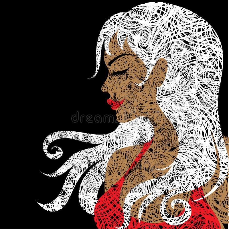 blond red för stående för klänningflickagrunge stock illustrationer