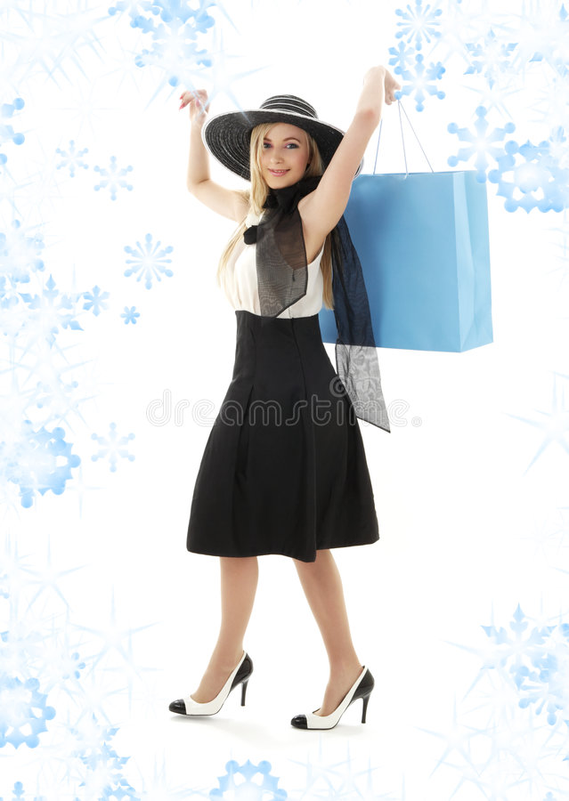 Download Blond In Retro Hat With Blue Shopping Bag Stock Image - Image: 6189751