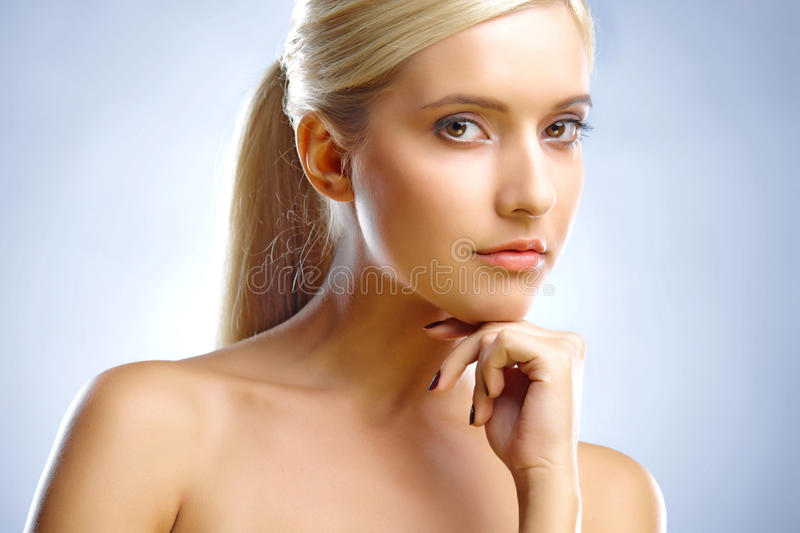 Download Blond's Face And Hand Stock Photo - Image: 12496140