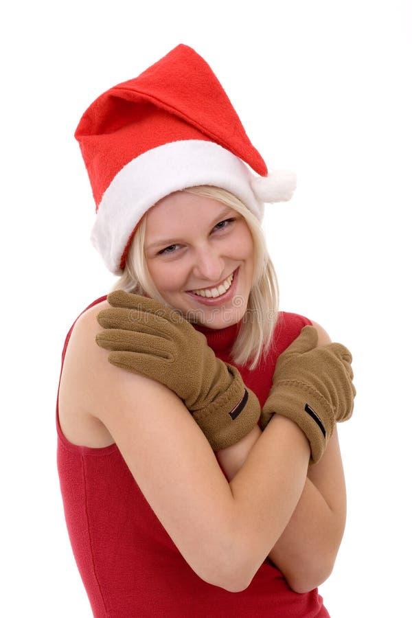 blond Santa kapeluszowe kobiety obraz stock