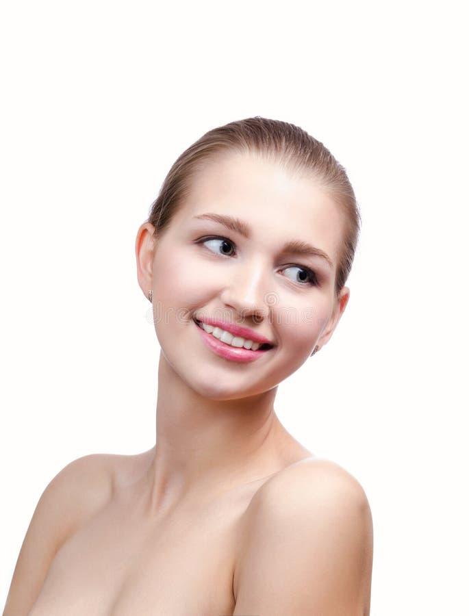 Blond schoonheidsportret van jonge vrouw stock afbeelding