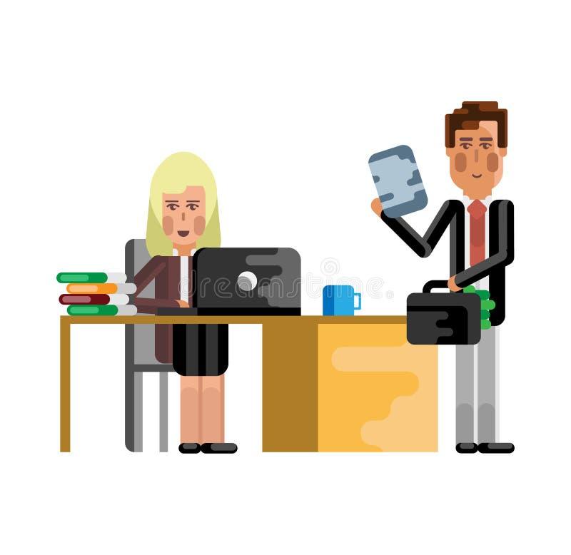 Blond sekreterare som arbetar på bärbara datorn stock illustrationer