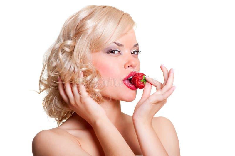 blond sexig jordgubbe royaltyfri fotografi