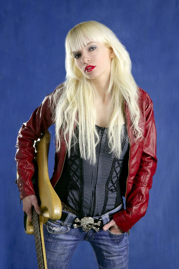 Blond sexy fashion young girl electric guitar rock
