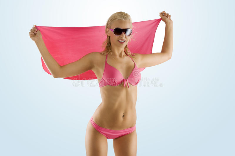 Download Blond Girl In Pink Bikini And Sunglasses Stock Photo - Image: 14853242