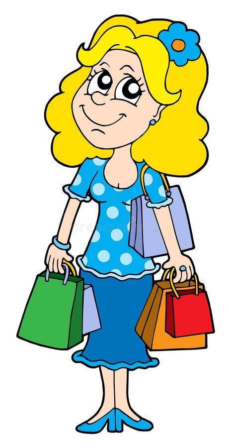 Blond shopping girl vector illustration