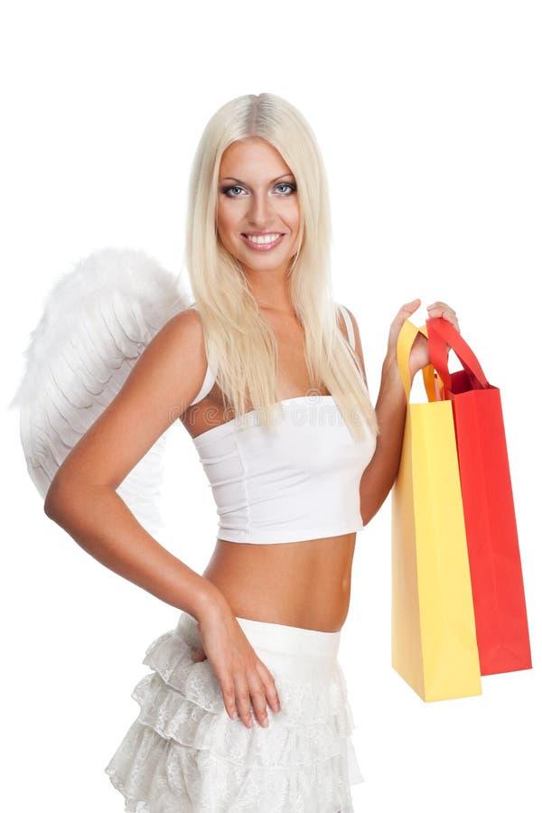 blond shoppingkvinna fotografering för bildbyråer