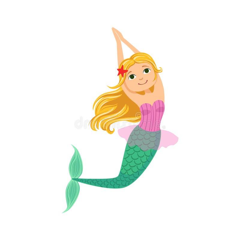 Blond sjöjungfru i purpurfärgad baddräktöverkantbehå med sjöstjärnan i illustration för varelse för hårsaga fantastisk royaltyfri illustrationer