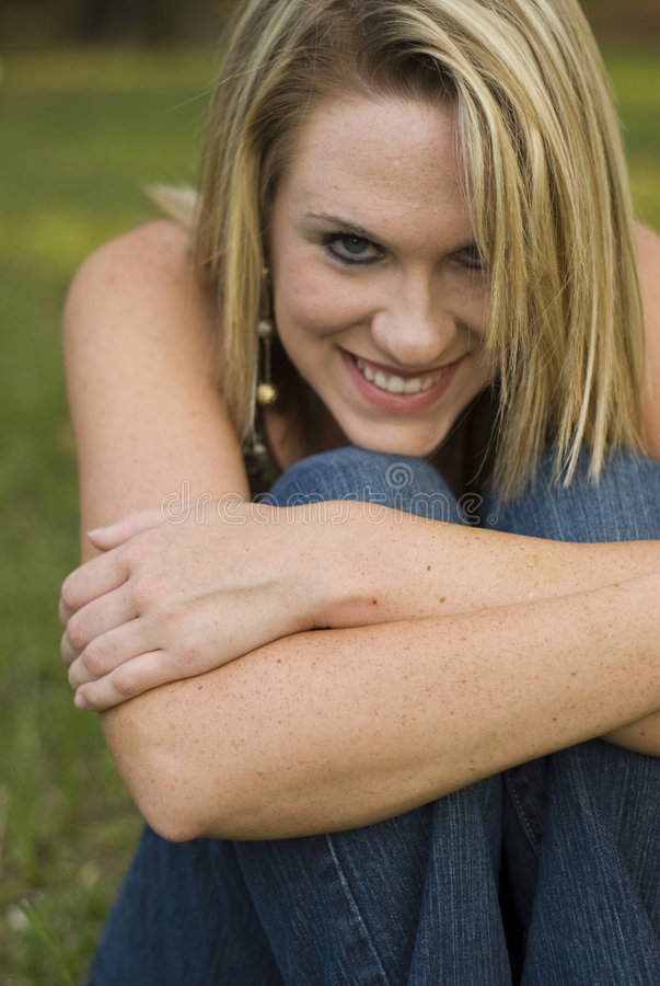 Blond smiling cute royalty free stock images