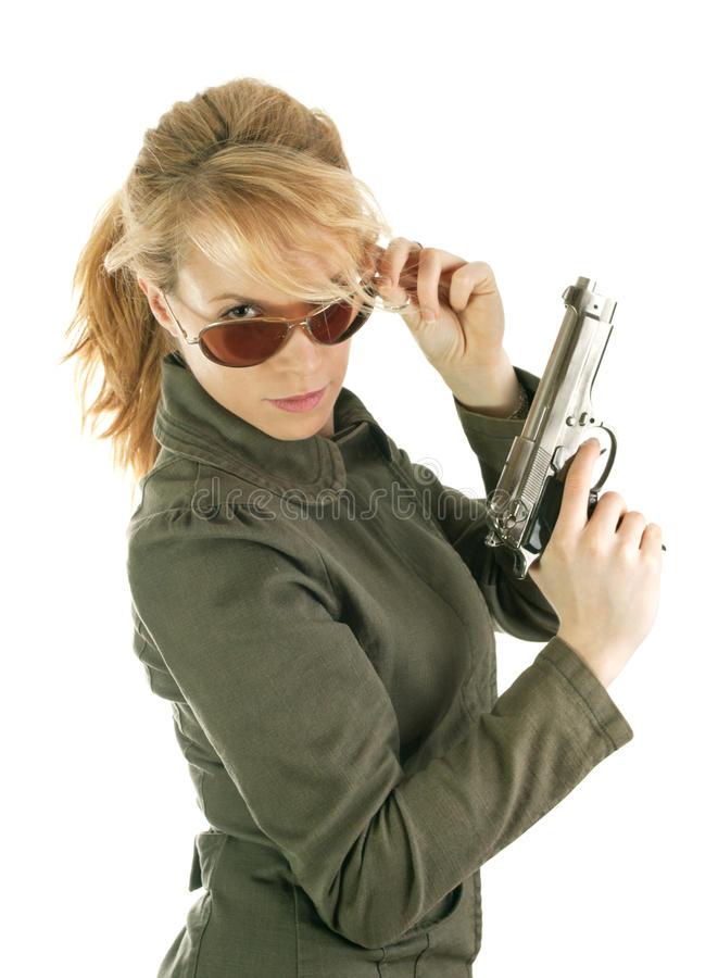 Free Blond Soldier Girl With Gun Royalty Free Stock Photography - 17879537
