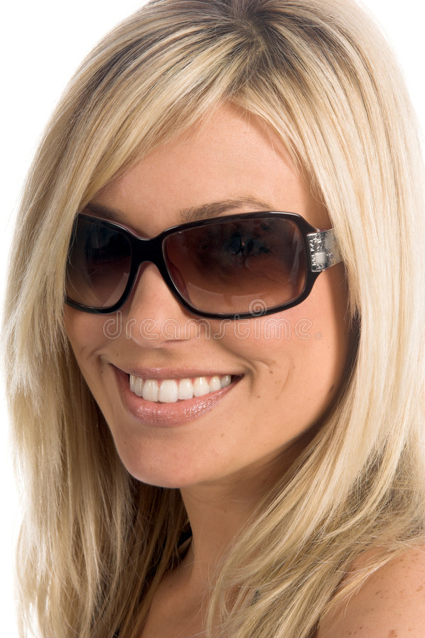 blond solglasögon royaltyfri bild
