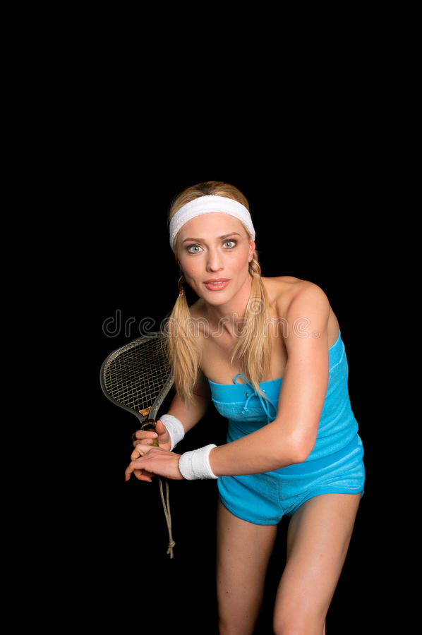 Blond squash player stock images