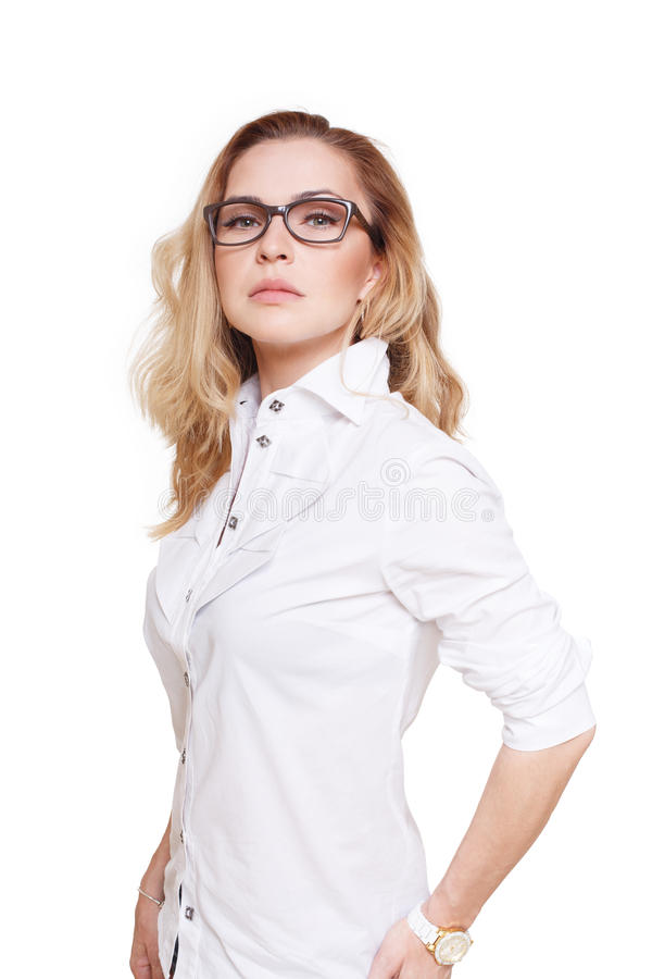 Blond stylish woman in eyeglasses portrait isolated on white. Blond stylish woman in eyeglasses. Young fashionable businesswoman in white casual clothes royalty free stock photo