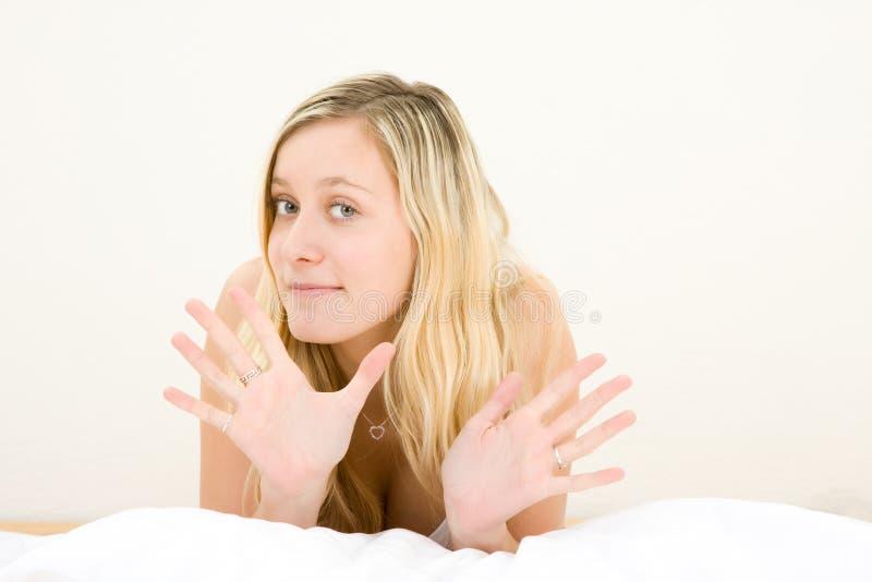 Blond Teenage Girl Gesturing Royalty Free Stock Photo
