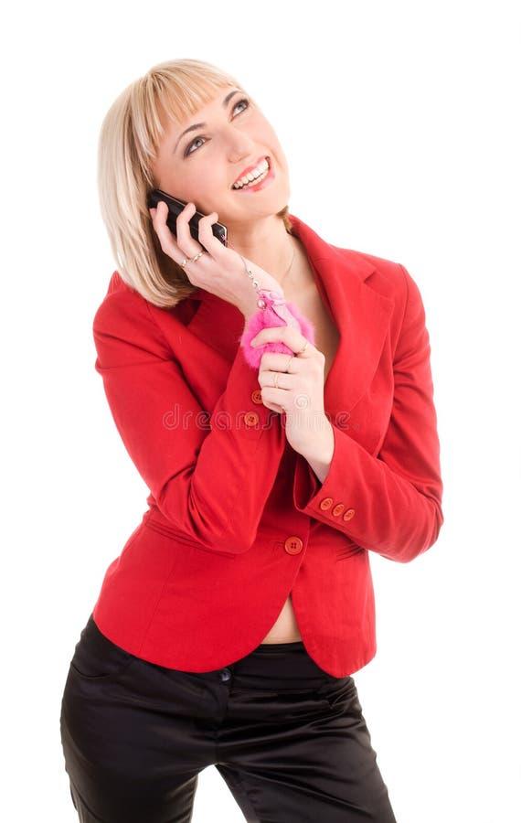 Blond am Telefon stockfotografie