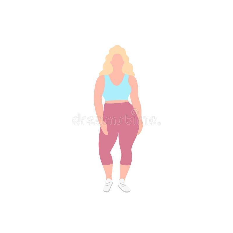 Blond trevlig fyllig kvinna med den curvy kroppen, flicka i sportive kläder för ett moderiktigt mode, plan vektorillustration Ful vektor illustrationer