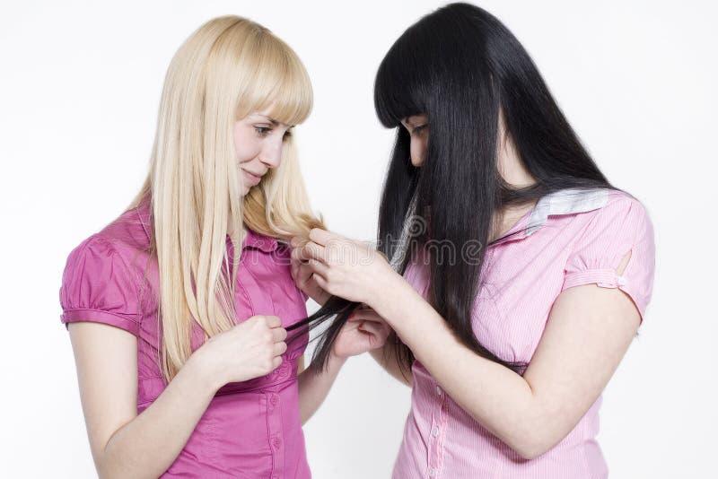 Blond und Brunette stockfotografie