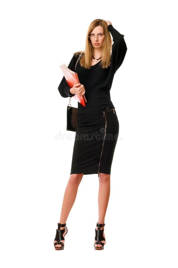 Blond ung dam med exponeringsglasen royaltyfri fotografi