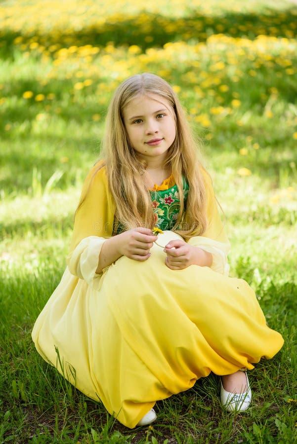 Blond ung flicka som poserar i en gul grön klänning som sitter på gräset med gula blommor för maskrosor arkivbild