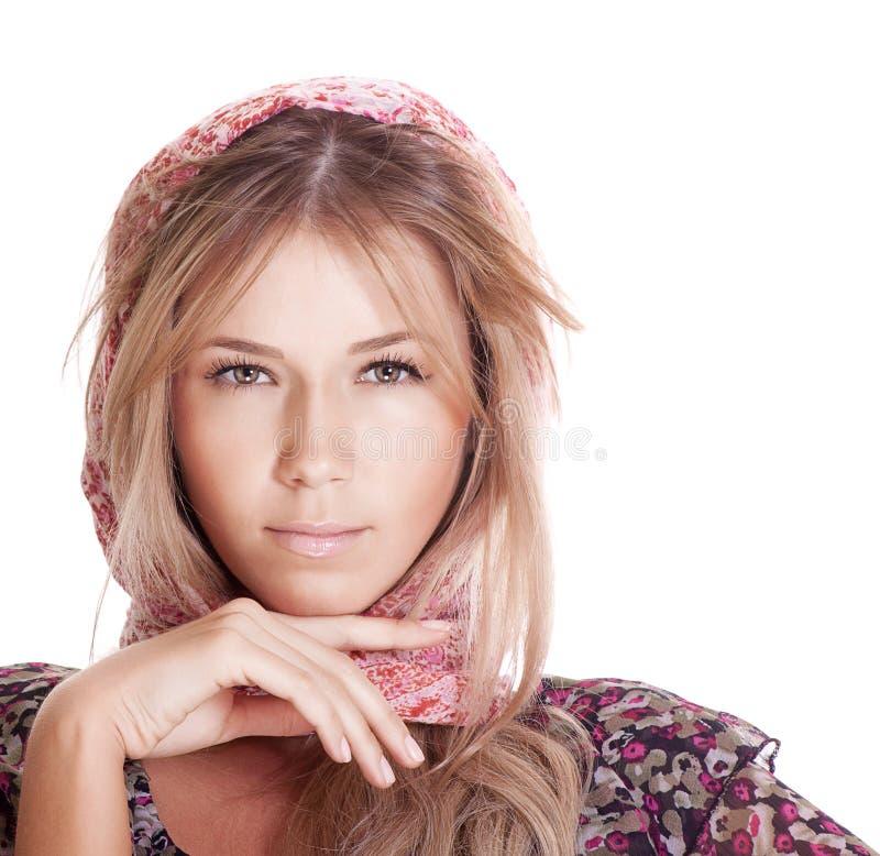 blond vit kvinna för bakgrund royaltyfri bild