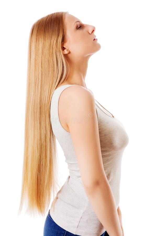 blond włosy pięknego włosy długa prosta kobieta obraz stock