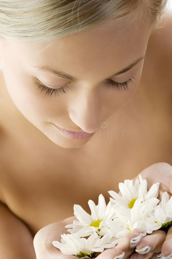 Blond with white daisy. Beauty portrait of a beautiful woman with twist braid and some white daisy stock photo