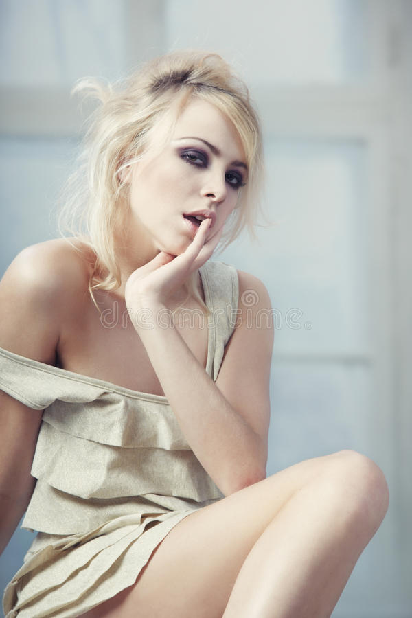 Download Blond at the window stock image. Image of lonely, alone - 25260455
