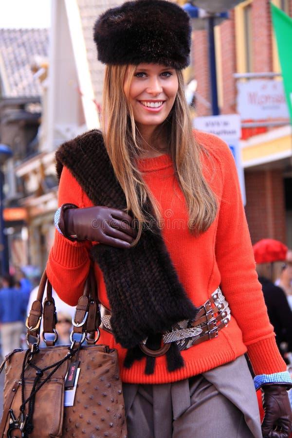 Blond winter fashion model streetstyle stock photo
