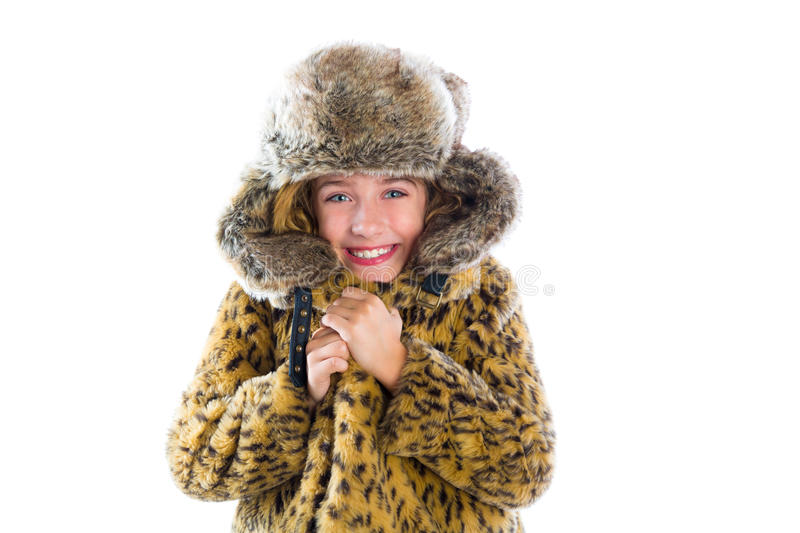 Blond winter kid girl cold freeze gesture and fur stock images