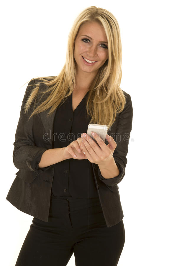 Blond woman in black business attire text smile stock images