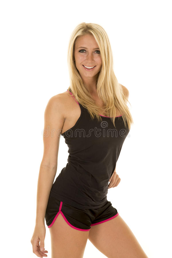 Blond woman black fitness stand smile stock photos