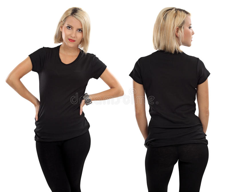 Blond woman with blank black shirt royalty free stock photos