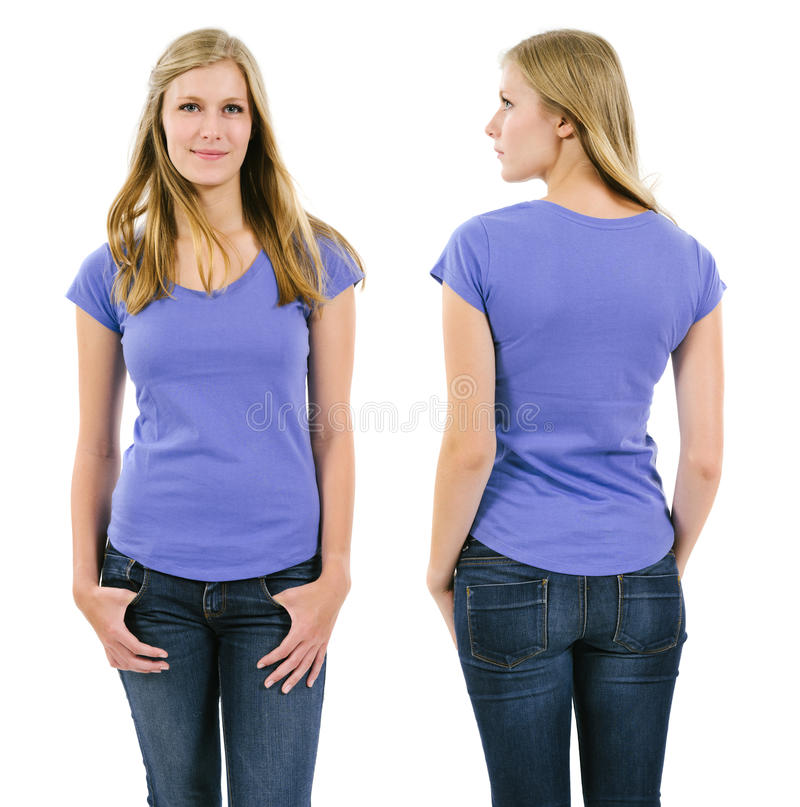 Blond Woman With Blank Purple Shirt Royalty Free Stock Photography