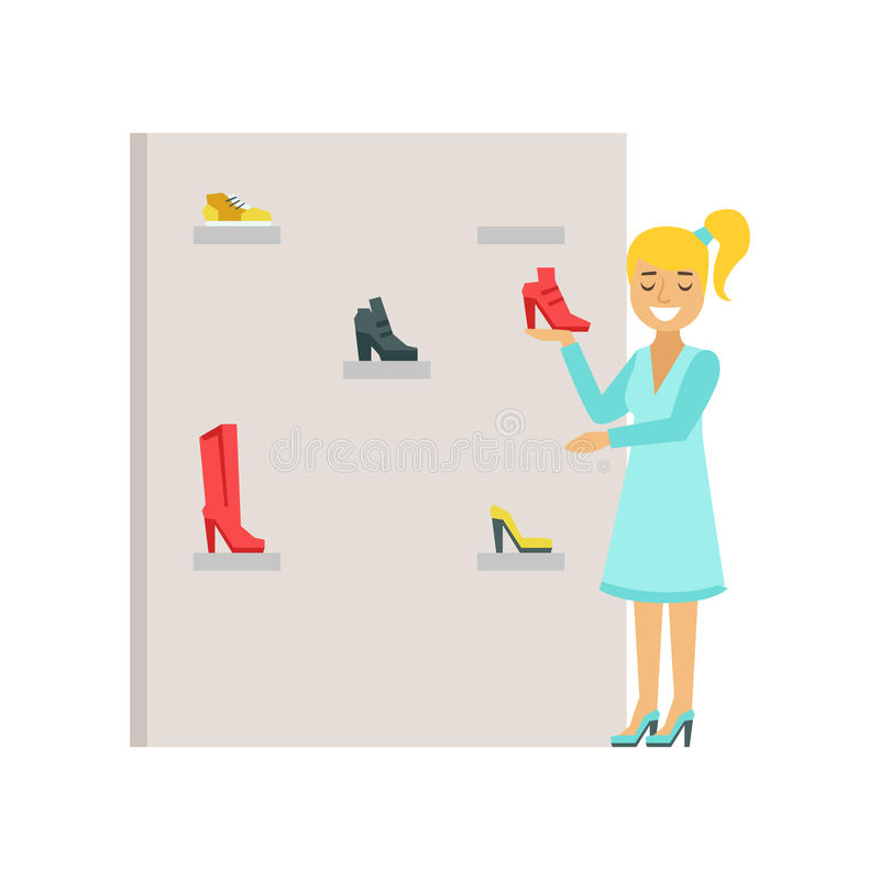 Blond woman choosing shoes in a shoes store, colorful vector illustration royalty free illustration