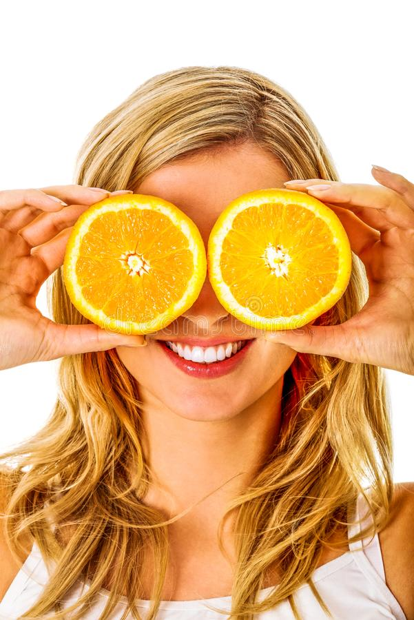 Funny portrait with oranges royalty free stock image