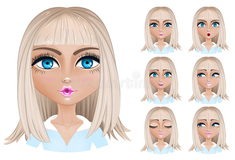 Blond woman with different facial expressions. Set woman with different facial expressions. Blond woman emoji character with different expressions. Vector stock illustration