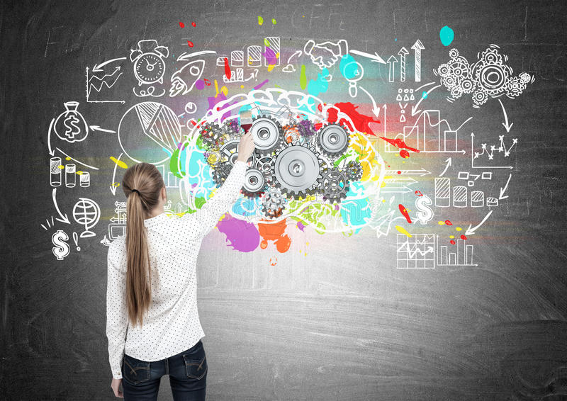 Blond woman drawing brain with cogs, scheme. Rear view of a blond woman drawing a large and colorful brain sketch with gears on top of it on a blackboard with a stock image