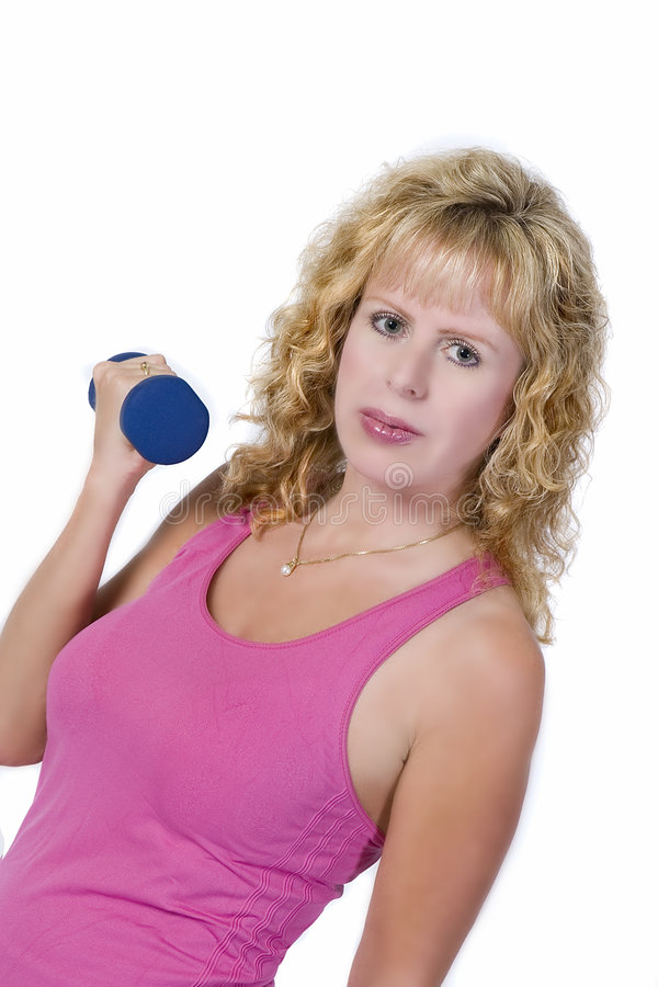 Blond woman with dumbbell stock photos