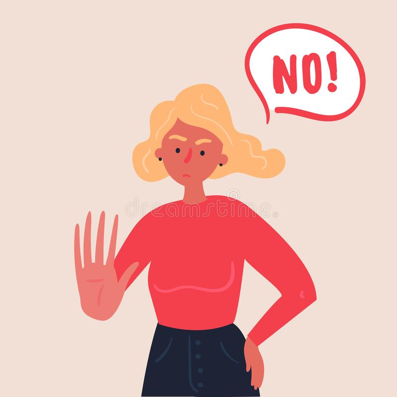 Blond woman expressing denial NO with her hand. Portrait of blond woman expressing denial NO wtih her hand and in the speech bubble. Stop domestic violence and royalty free illustration