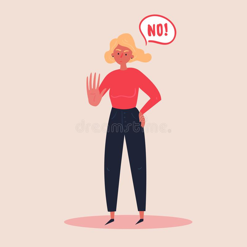 Blond woman expressing denial NO with her hand. Blond woman expressing denial NO wtih her hand and in the speech bubble. Stop domestoc violence and crime against stock illustration