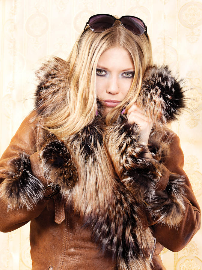 Download Blond woman with fur coat stock image. Image of woman - 23389599