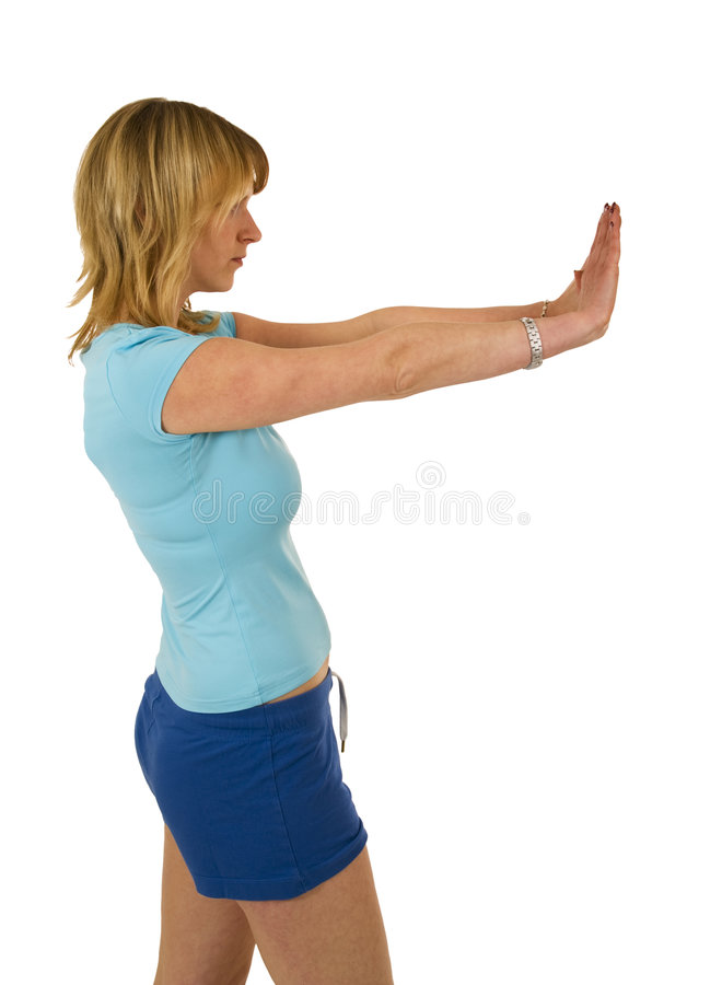 Download Blond woman gesturing stop stock photo. Image of long - 4208932