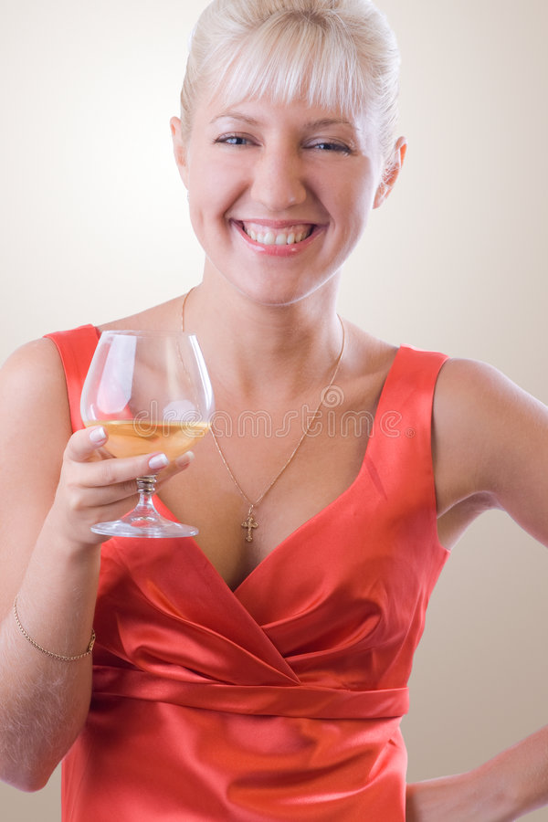 Download Blond Woman With A Glass Of Wine. #1 Stock Photo - Image: 7233218